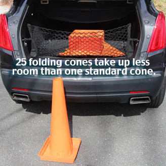 You can store 25 Folding Cones in your trunk for every one standard cone!