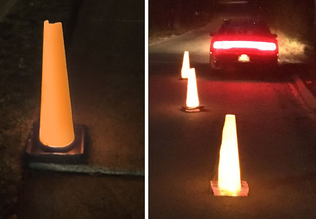 The Original Folding Cone is translucent so with any inexpensive lighting source, this becomes a one of a kind safety cone like no other!
